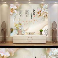 新款电视背景墙中式简约现代3d立体彩雕客厅护墙板瓷砖电视背景墙
