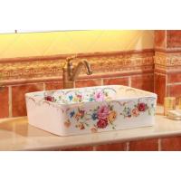 釉上彩金贴花台上高档陶瓷艺术洗手盆洗脸盆