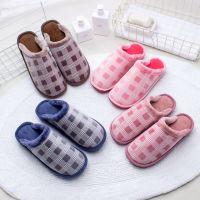 厂家直销新款棉拖鞋冬季居家室内情侣格子保暖家居毛绒拖鞋批发