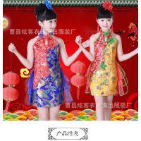 2018新款儿童古典舞服装中国风小短裙旗袍演出服舞蹈服