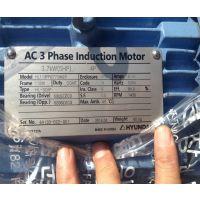 现代电机代理 HYUNDAI HS133UR307JHB 5.5KW 7.5HP 6P 380V