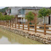 河源紫金连平景区河道池塘混凝土栏杆、水泥仿木护栏效果样式批发
