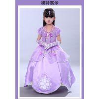 迪士尼儿童苏菲亚公主裙蓬蓬表演礼服索菲亚连衣裙圣诞节女童长裙