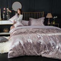 欧式全棉贡缎提花四件套素色床上用品床单被套纯棉4件套床单床笠