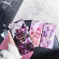 Iphone6 6S 7 8 7puls 8puls iphoneX带钻指环大理石纹手机保护套
