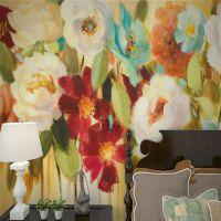 客厅电视背景墙定制壁画美式田园大气花朵墙纸卧室床头影视墙壁布