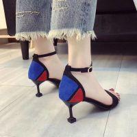 夏季新款韩版时尚时装凉鞋细跟中跟百搭气质女鞋便宜地摊货源批发