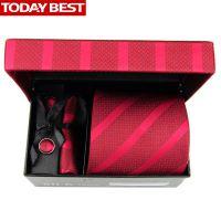 男士新郎结婚正装婚礼时尚酒红色领带韩版套装红色婚礼套装礼盒
