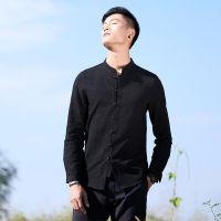 2018春款中国风亚麻衬衫男式休闲长袖衬衣棉麻男修身立领衬衫代发#147 可接单来样生产