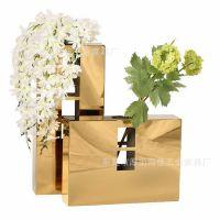 铁艺创意时尚花瓶现代简约不锈钢客厅摆件家居家饰干花花器插花
