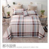 春秋加厚斜纹老粗布床单三件套 单双人床单枕套学生宿舍床上用品