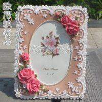 6寸粉红色新款家居摆台饰品货源韩式田园风创意相框相架画框批发