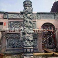 大型广场石雕柱子 双龙雕刻大理石龙柱 山东石雕龙柱加工厂家