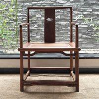 圈椅三件套实木海棠椅单人黑胡桃中式圈椅太师椅茶椅子