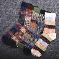 秋冬季加厚兔羊毛袜男士袜子 中筒袜复古民族风格子兔羊毛保暖袜