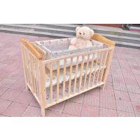 橡木环保无油漆婴儿床宝宝小摇篮床游戏床新生儿床带蚊帐可代发