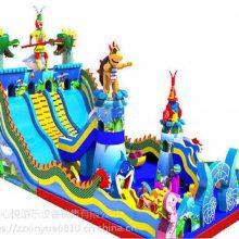 西藏拉萨儿童乐园充气滑梯厂家 15X8米冒险岛充气蹦蹦床哪家质量好