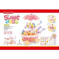 宝宝仿真小推车女孩迷你糖果车冰淇淋店儿童过家家灯光音乐玩具