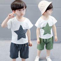 儿童卡通套装18新款夏装男童短袖五角星套装中小套两件套一件代发