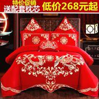 婚庆四件套大红全棉刺绣床上用品结婚房床品六十件套龙凤
