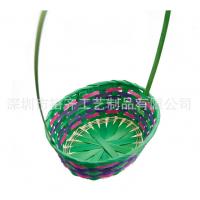 厂家直销复活节竹编篮子 彩色竹条编织篮 纯手工竹篮