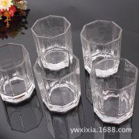 现货供应八角透明玻璃杯6个组合装水晶酒杯水杯玻璃口杯10元货源