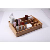 竹质韩国化妆品收纳盒首饰盒  多功能办公桌面整理箱 三格收纳盒