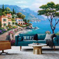 大型街景无纺布壁画 欧式油画海景风景壁纸 客厅卧室电视背景墙纸