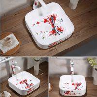 卫生间台上陶瓷彩色方形手绘梅花款洗手盆