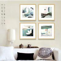 订制订做荷韵新中式 现代有框装饰画 酒店套房客厅沙发背景墙挂画