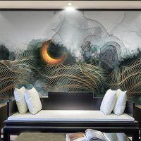 抽象山水壁纸大全 客厅沙发卧室背景墙布 办公室现代无纺布墙纸