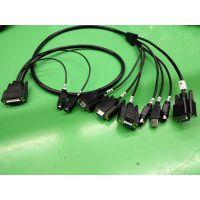 制造DB26P母+2*MD6P母 转 USB AM +4*DB9母+4*MD6P公母转接线