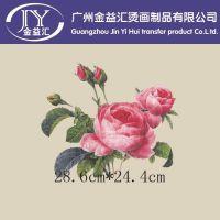 玫瑰花图案热转印烫画 适合服装箱包烫画 广州厂家供应批发