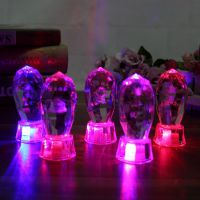 新奇特小礼物 微景观内雕祝福语水晶带灯摆件  变色闪光学生礼品
