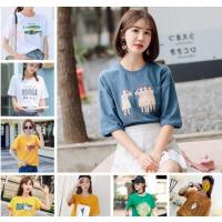 便宜女士T恤纯棉圆领T恤2019新款女装批发地摊专卖服装货源