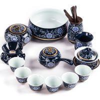 琨德整套景德镇蓝釉霁蓝陶瓷青花瓷功夫茶具家用办公茶壶茶杯套装