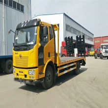 国六拉150挖机拖车配置 解放J6单桥挖机平板运输车卖多少钱一辆