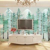 大型壁画电视背景墙墙纸定制现代简约手绘清新树林