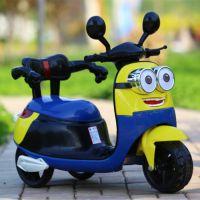厂家直销小黄人儿童电动车摩托车 三轮可坐 宝宝电瓶玩具车 童车