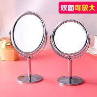 欧式双面镜子放大台式旋转小镜便携随身化妆镜小号高清梳妆镜