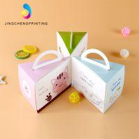 三角形手提慕斯蛋糕包装盒小三角芝士纸盒子西点盒