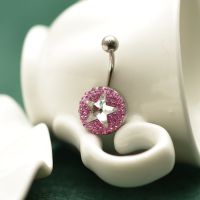 BGS0009 韩国进口钢饰 不过敏不掉色粉钻五角星脐钉 耳钉