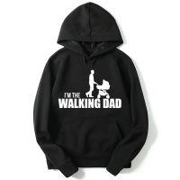 外贸新款The walking dad男士卫衣印花圆领长袖套头薄款衣服