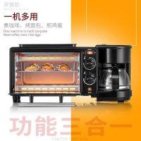 厂家直销家用多功能电烤箱 迷你早餐机煎烤煮一体机面包机烘焙礼品