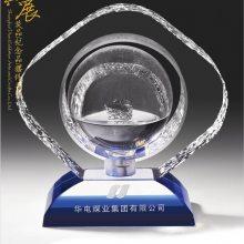 商会纪念品图片 新款水晶商会奖牌 苏州水晶工艺品定制价格