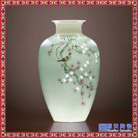 景德镇手绘陶瓷花瓶 玲珑瓷客厅摆件装饰 现代简约新中式手绘瓶