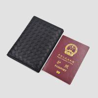 新款真皮编织护照包两折小羊皮护照套机票夹证件包多功能钱包