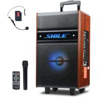 狮乐广场舞音响 户外木质箱设备 拉杆彩灯音箱带蓝牙播放功能 配无线话筒