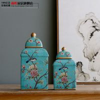 摆件家居|景德镇陶瓷器四方蓝温馨花鸟家装家饰冰裂陶瓷套装摆件