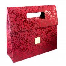 定做高档特种纸袋 翻盖冲孔手提包 彩印花纹烫金卡纸礼品袋